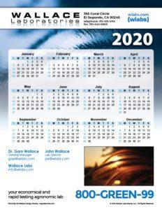 2020 Wallace Labs Calendar